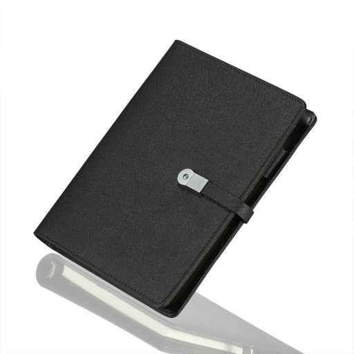 Business Portfolio with Removable 8GB USB Drive, Card holder, Document Holder, A5 Writing Note - Black