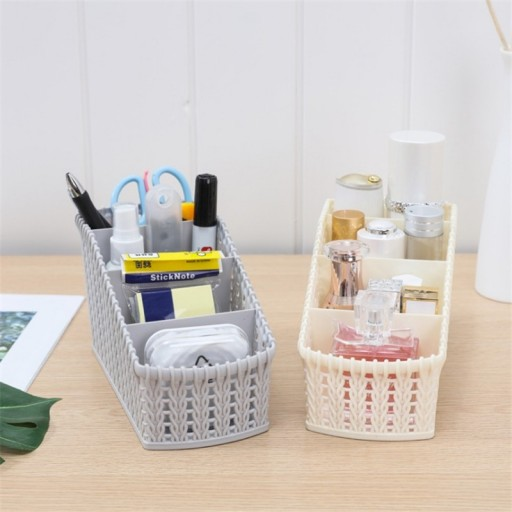 Desk Storage Basket Plastic Make-up Cosmetic Organizer Office Supplies Holder 4 Sections Basket