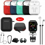 6 in 1 Apple AirPods case Silicone Protective Cover Carabiner Anti-lost Strap Storage Bag Holder Anti-dust Cap