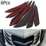 6pcs Front Bumper Fins Spoiler Wing Lip Splitter Spoiler Canard Valence Universal Carbon Fiber Texture For Car
