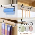 6 hooks cup holder hang kitchen cabinet under shelf storage rack Organizer Tool Nail Free Under-the-closet Mug Hooks