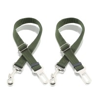 Dog Seat Belt, Harness Car Safety Seatbelt 2 Packs, Adjustable Nylon Strap and Universal Clip For Buckle up Dogs Puppy Cats Pets,Shock Absorbing for Safe Travel - Green