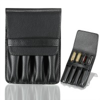 Fountain Roller Pen Case Holder Black Faux Leather Case for 4 Pens