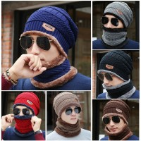 crochet knit beanie for men Winter Hat Warm Knitted Wool Thick Baggy Slouchy Beanie