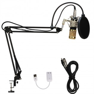 Professional Condenser Microphone Kit with Adjustable Recording Microphone Suspension Scissor Arm and Mounting Clamp For Studio Broadcasting Recording Youtube Facebook Live Periscope