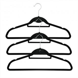 Cascading Velvet Hangers 120 Pack Ultra Thin Non Slip Clothes Closet Space Saving Hanger For Skirts, Dresses, Suits, Shirts & Coat - Slim Black Design