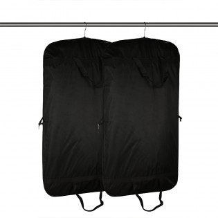 Premium Quality Black Garment Bag Covers Set of 2 Featuring Zipper Carry Handles and Folding For Storage or Travel for Dresses, Suit, Jacket, Coat - Black