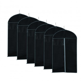 Breathable Garment Bag Covers Set of 6 for Dresses, Suit, Jacket,Linens, Storage Zipper Covers - Black