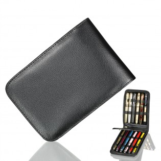 Good quality PU Leather Pen case for 12 pens In Black