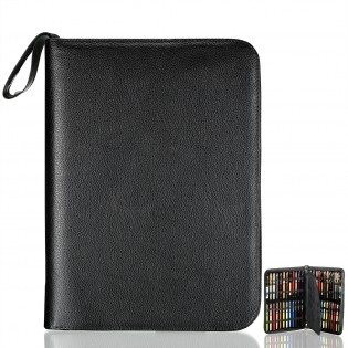 Black Leather Pen Case - High Quality PU leather Pen case for 48 pens.