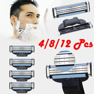 4 PCS 3-Layer Men's Razor Blades Refills Replacements For Mach 3 Turbo