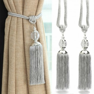 Curtain Tassel Tiebacks 2PCS Crystal Beaded Curtain Holdback Rope Silver Tie Backs