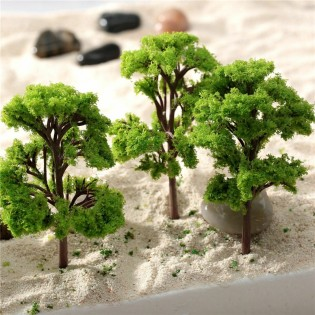 10 Pieces Model Trees 5.5cm Train Trees 2.15 inch Railroad Scenery Diorama Tree Architecture Trees for DIY Scenery Landscape