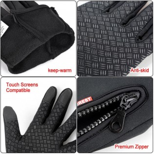 Ski Gloves For Men Women Touch Screen Waterproof Warm Windproof Anti-slip Thermal Black