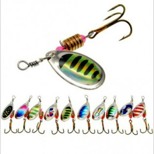 10PCS Fishing Lures Spoon Trout Metal Spinner Baits Bass Tackle Crankbait Trout