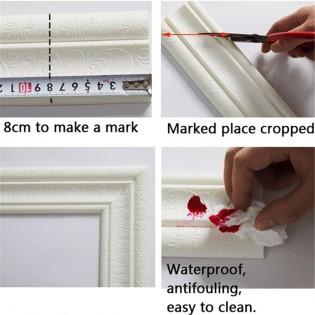 wall border stickers 3D Waterproof Self-Adhesive Foam Wallpaper Removable Tiles Sticker Kitchen, Bathroom, Bedroom