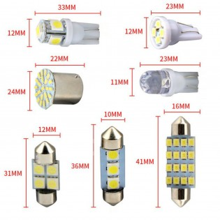 14PCS Car Interior LED Light Dome License Plate Map Door Glove Box Mixed Lamp Set