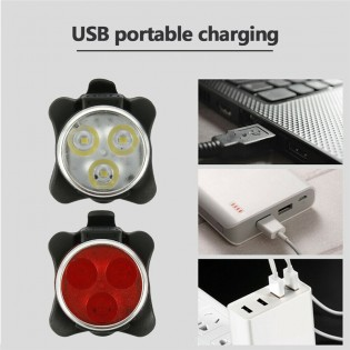 usb rechargeable bicycle front and rear light combination Waterproof, 4 Modes (2 Cables, 4 Straps)