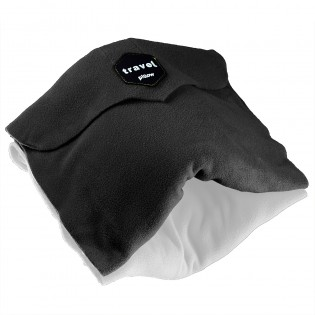 Travel Pillow - Ergonomic Neck Support Pillow Super Soft Comfort & Machine Washable Fleece Easy to Carry for Flight Car Train and Bus Travel - Black