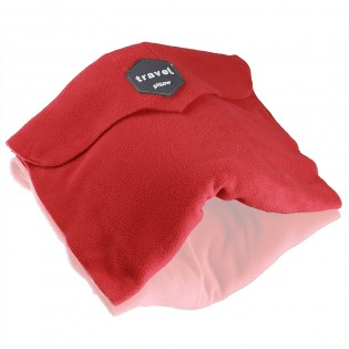 Travel Pillow - Ergonomic Neck Support Pillow Super Soft Comfort & Machine Washable Fleece Easy to Carry for Flight Car Train and Bus Travel - Red